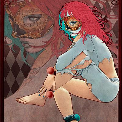 Ilustracion Broken Harlequin de Ana del Valle