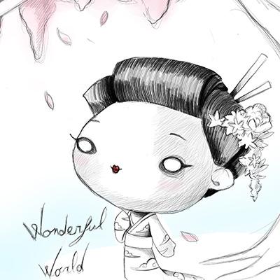 Ilustracion Geisha de Davide Ortu